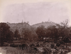 General view of pagodas in the hills at Sagaing